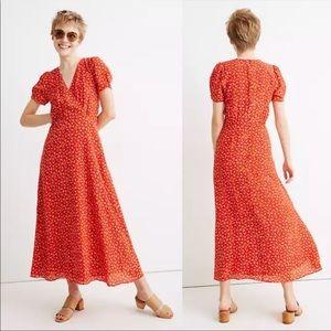 NEW Madewell 100% Silk Puff Sleeve Midi Dress